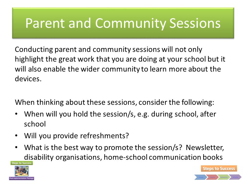 Parent and Community Sessions