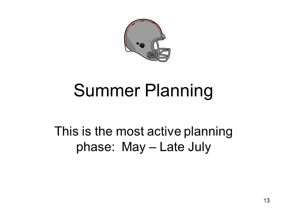 This is the most active planning phase: May – Late July