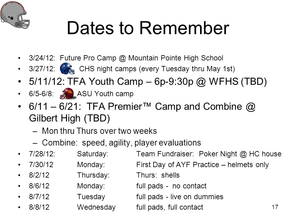 Dates to Remember 5/11/12: TFA Youth Camp – 6p-9:30p @ WFHS (TBD)