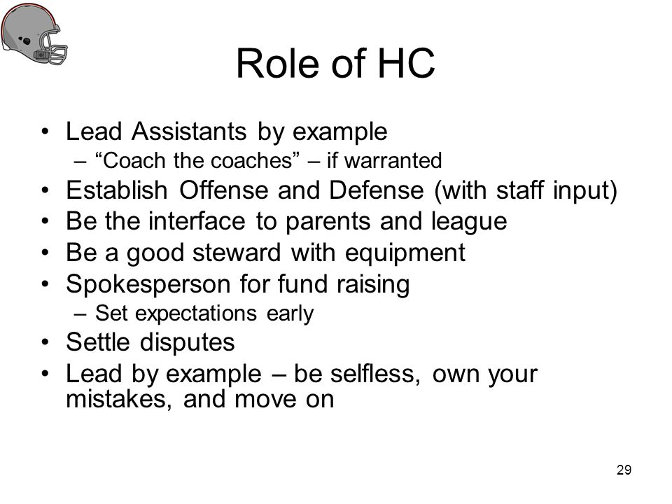 Role of HC Lead Assistants by example