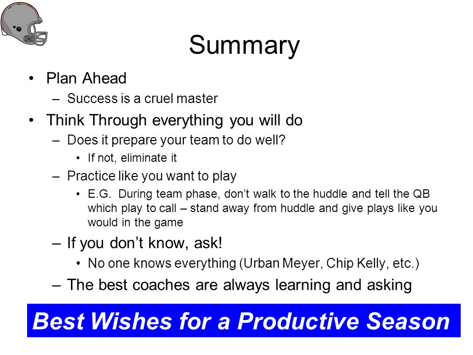 Summary Best Wishes for a Productive Season Plan Ahead