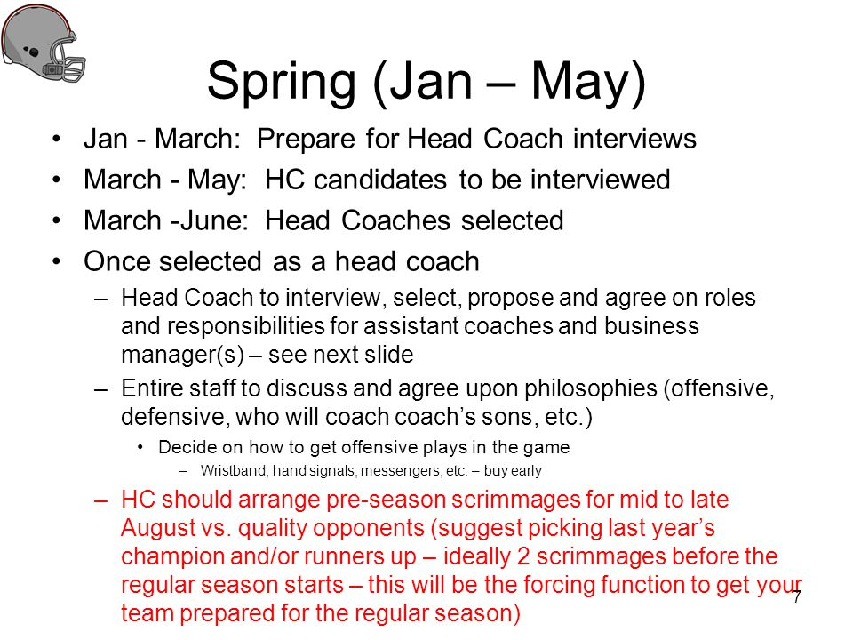 Spring (Jan – May) Jan - March: Prepare for Head Coach interviews