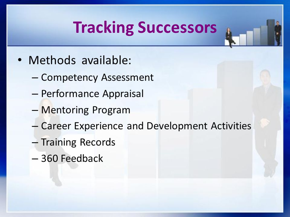 Tracking Successors Methods available: Competency Assessment