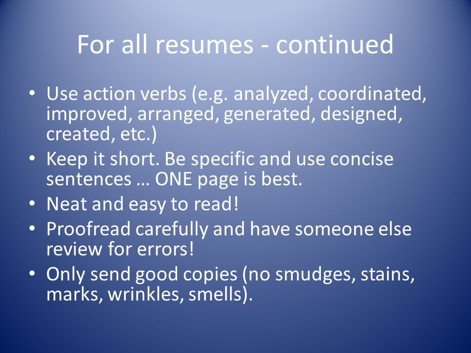 For all resumes - continued