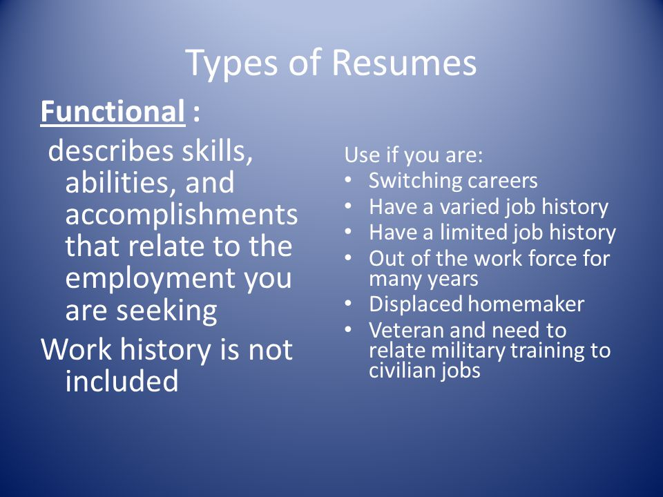 Types of Resumes Functional :
