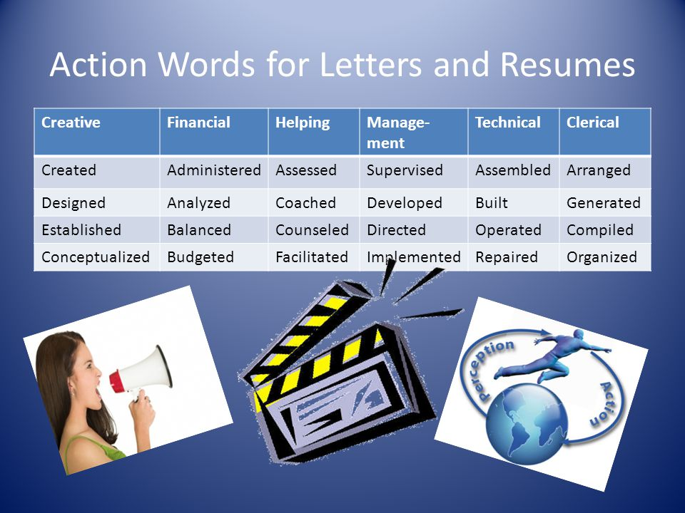 Action Words for Letters and Resumes