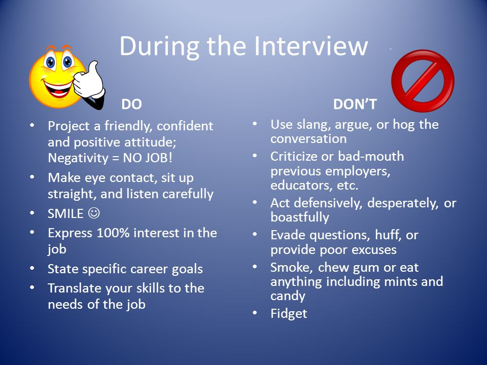 During the Interview DO DON'T