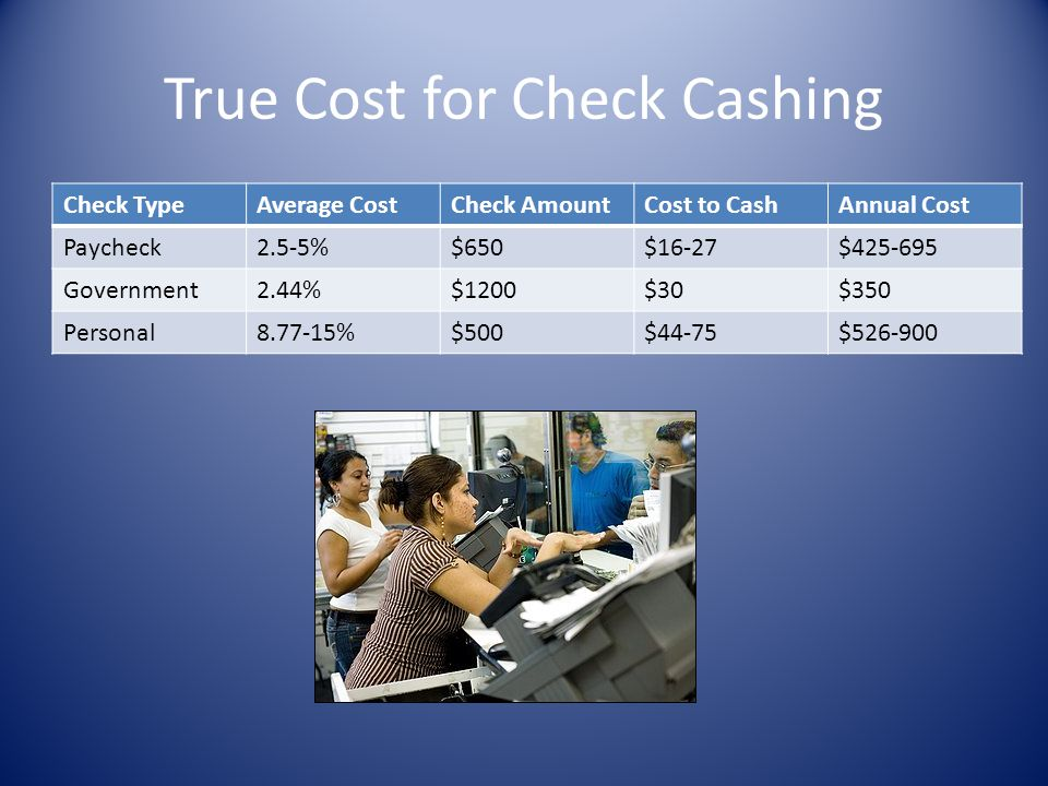 True Cost for Check Cashing