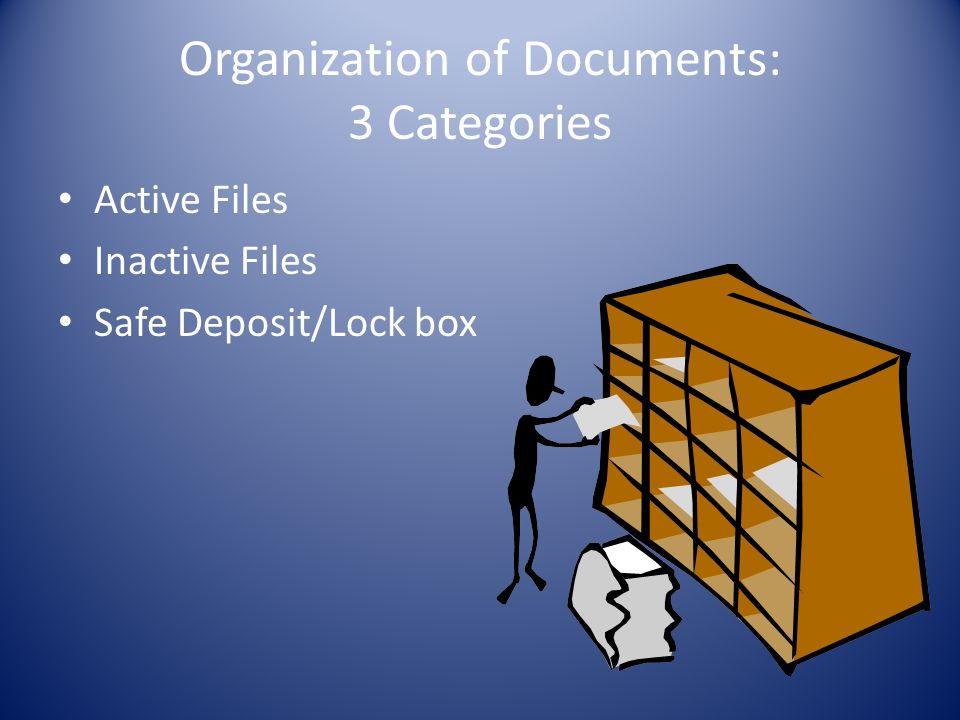 Organization of Documents: 3 Categories