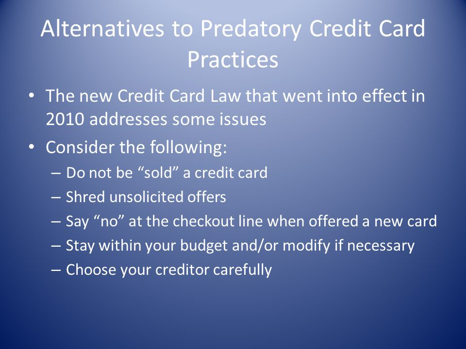 Alternatives to Predatory Credit Card Practices