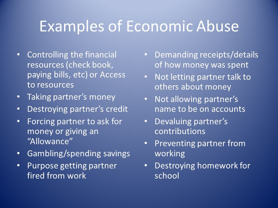 Examples of Economic Abuse