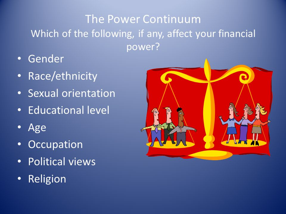 The Power Continuum Which of the following, if any, affect your financial power