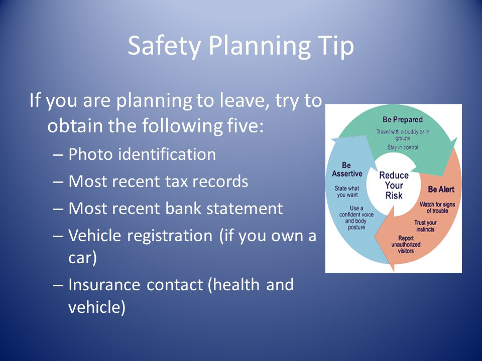 Safety Planning Tip If you are planning to leave, try to obtain the following five: Photo identification.