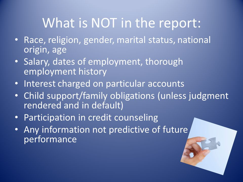 What is NOT in the report:
