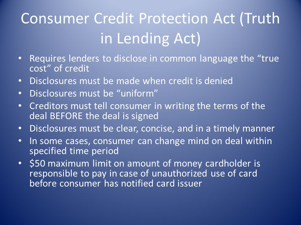 Consumer Credit Protection Act (Truth in Lending Act)