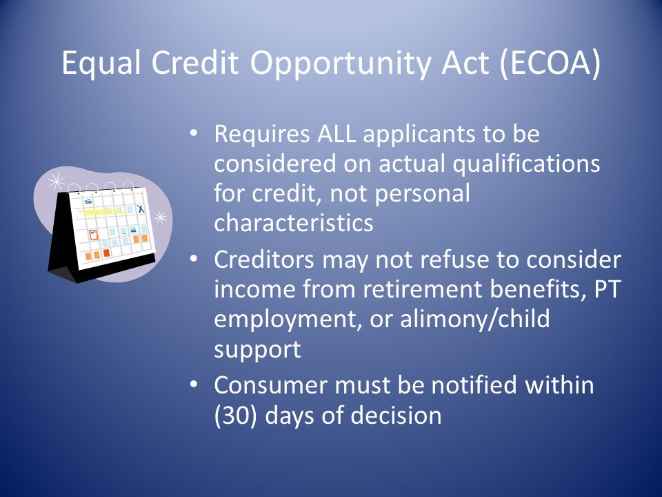 Equal Credit Opportunity Act (ECOA)