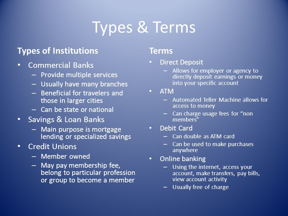 Types & Terms Types of Institutions Terms Commercial Banks