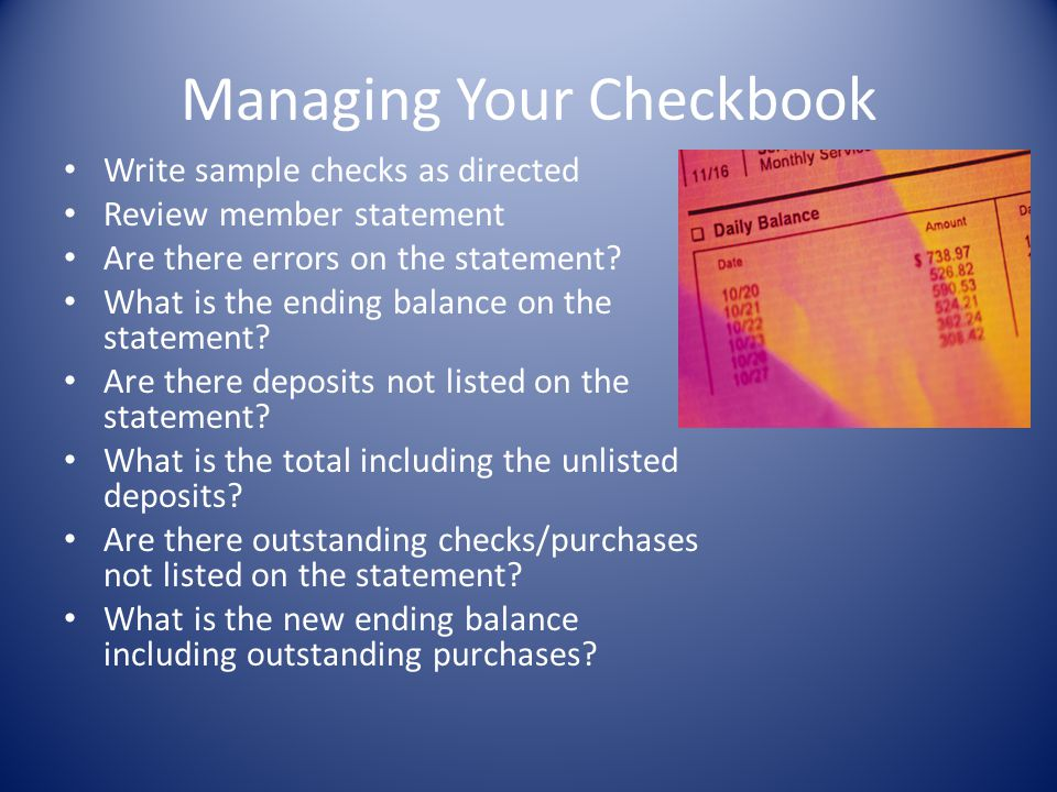 Managing Your Checkbook