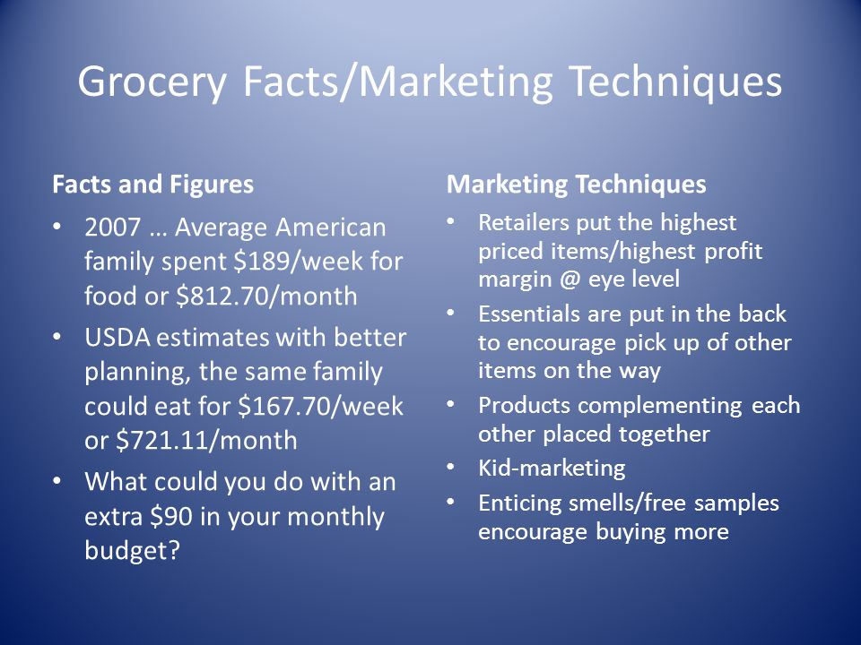 Grocery Facts/Marketing Techniques
