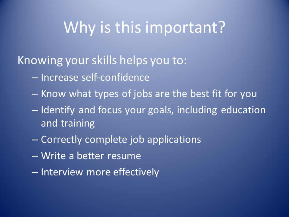 Why is this important Knowing your skills helps you to: