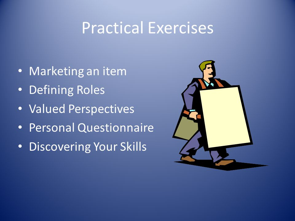 Practical Exercises Marketing an item Defining Roles