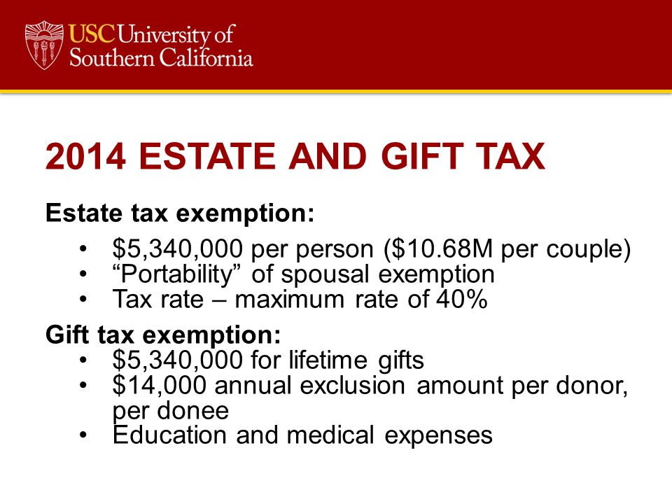 2014 ESTATE AND GIFT TAX Estate tax exemption:
