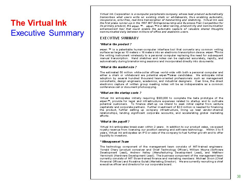 The Virtual Ink Executive Summary