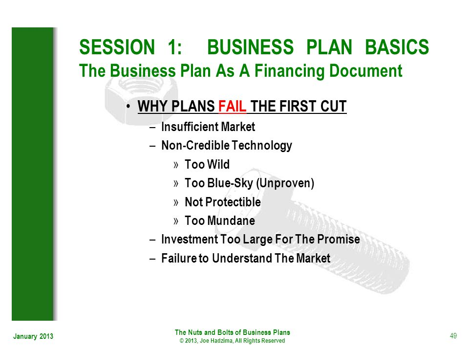 SESSION 1: BUSINESS PLAN BASICS The Business Plan As A Financing Document