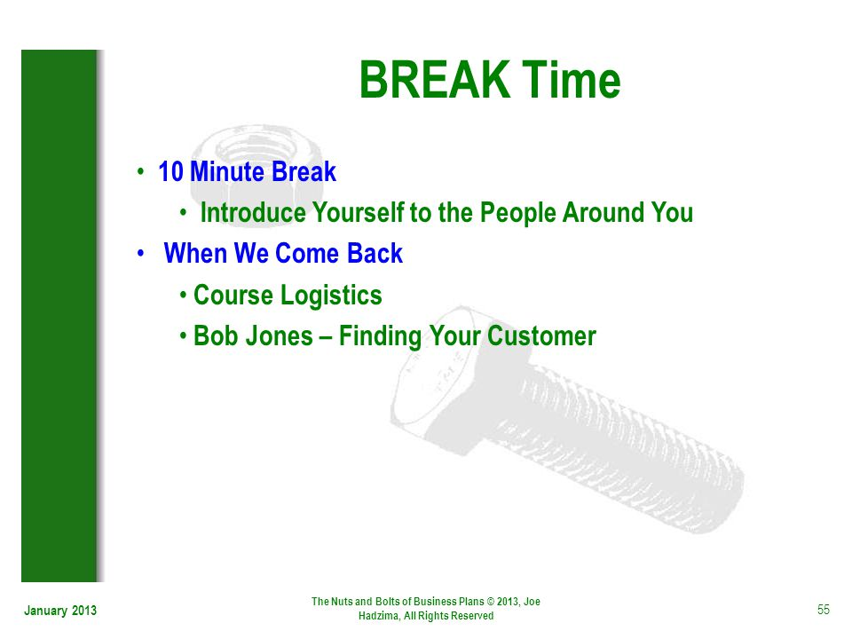 BREAK Time 10 Minute Break Introduce Yourself to the People Around You