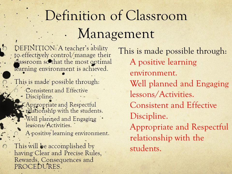 Definition of Classroom Management