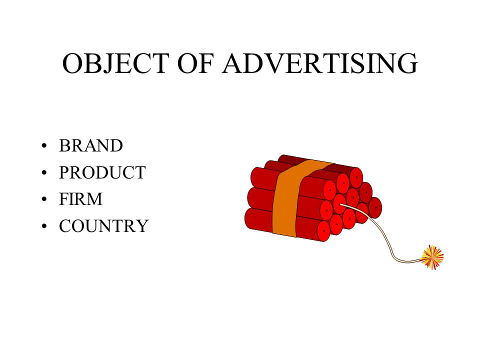 OBJECT OF ADVERTISING BRAND PRODUCT FIRM COUNTRY