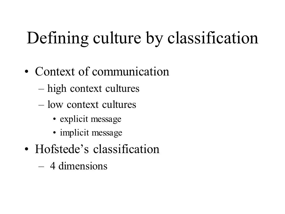 Defining culture by classification