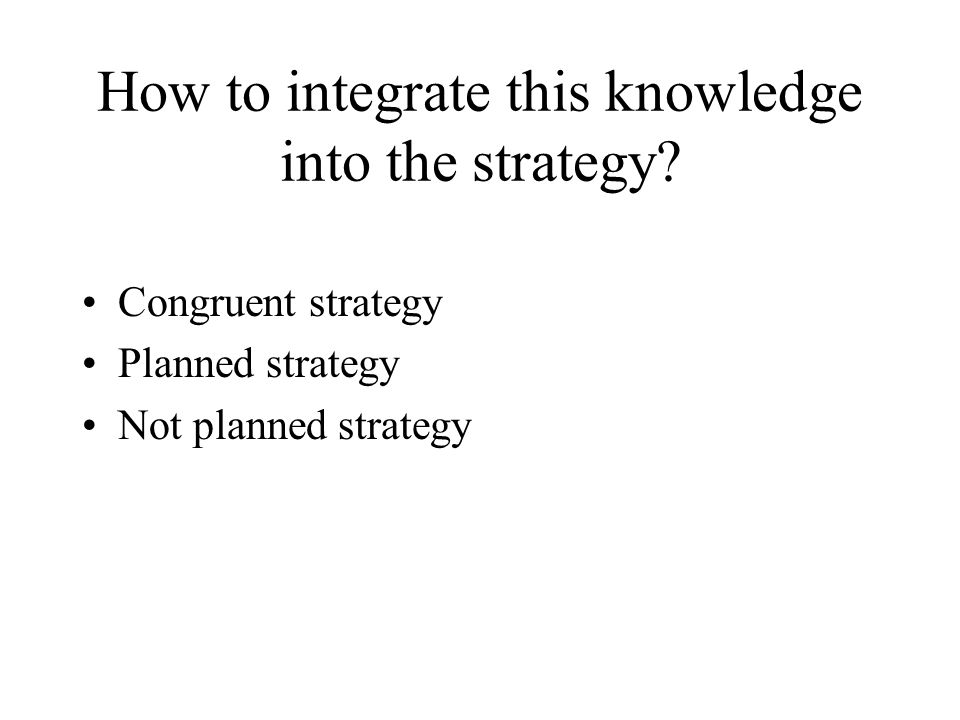 How to integrate this knowledge into the strategy
