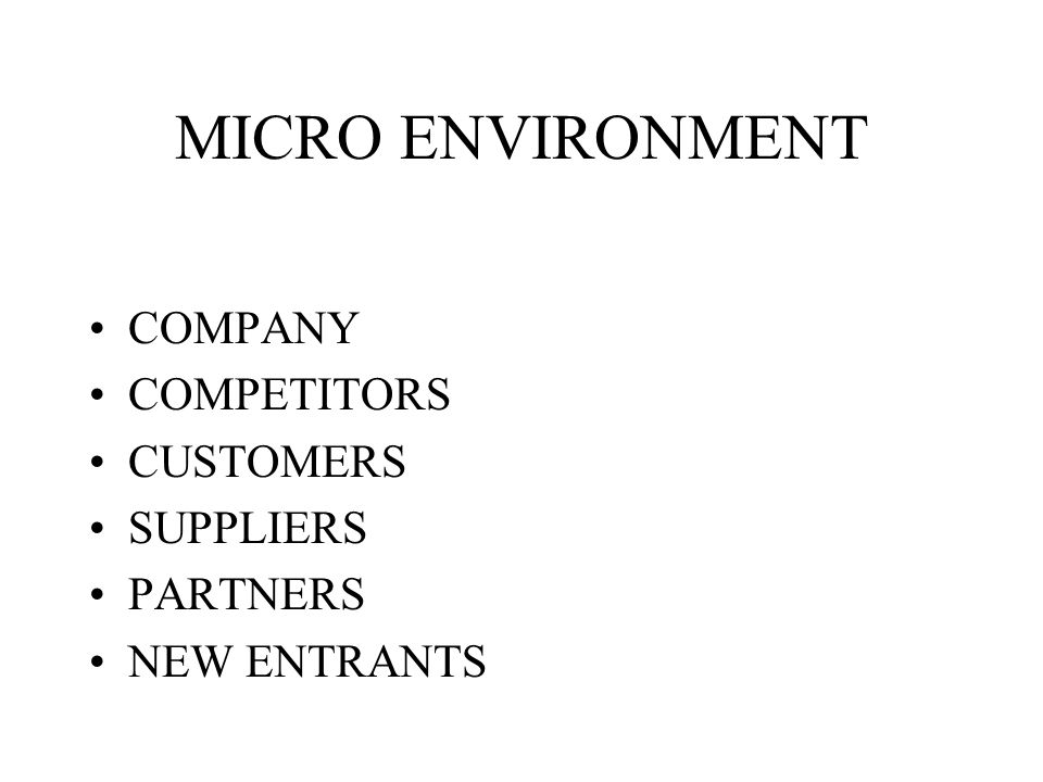 MICRO ENVIRONMENT COMPANY COMPETITORS CUSTOMERS SUPPLIERS PARTNERS