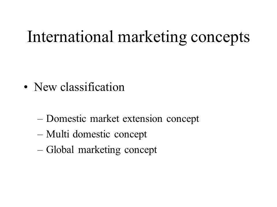 International marketing concepts