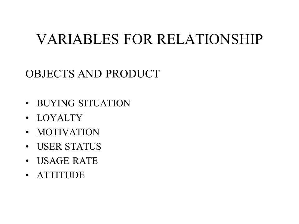 VARIABLES FOR RELATIONSHIP