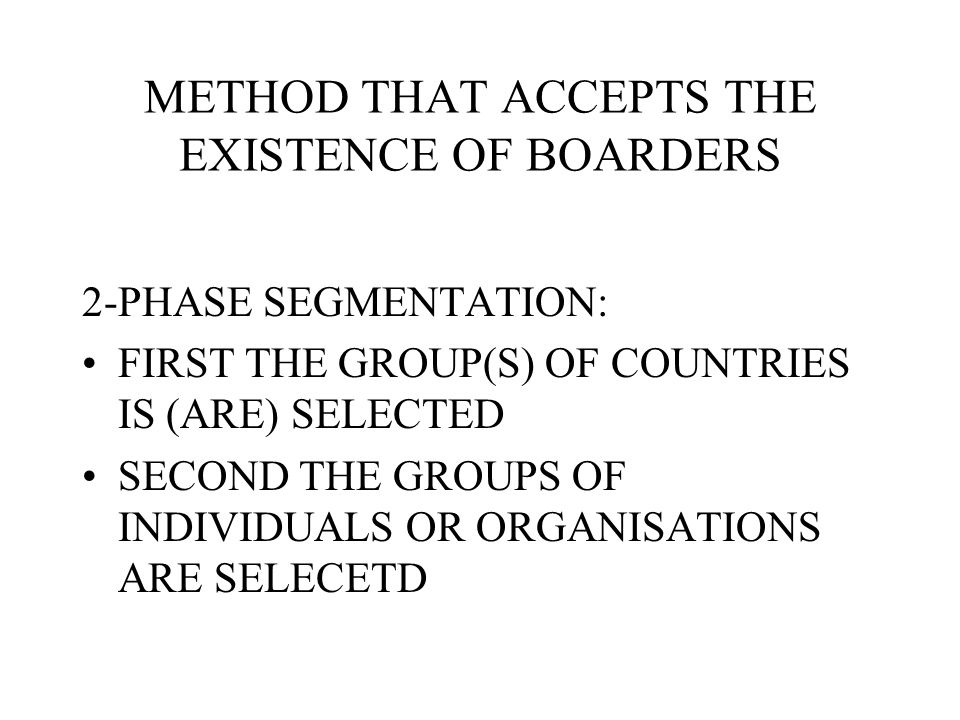 METHOD THAT ACCEPTS THE EXISTENCE OF BOARDERS
