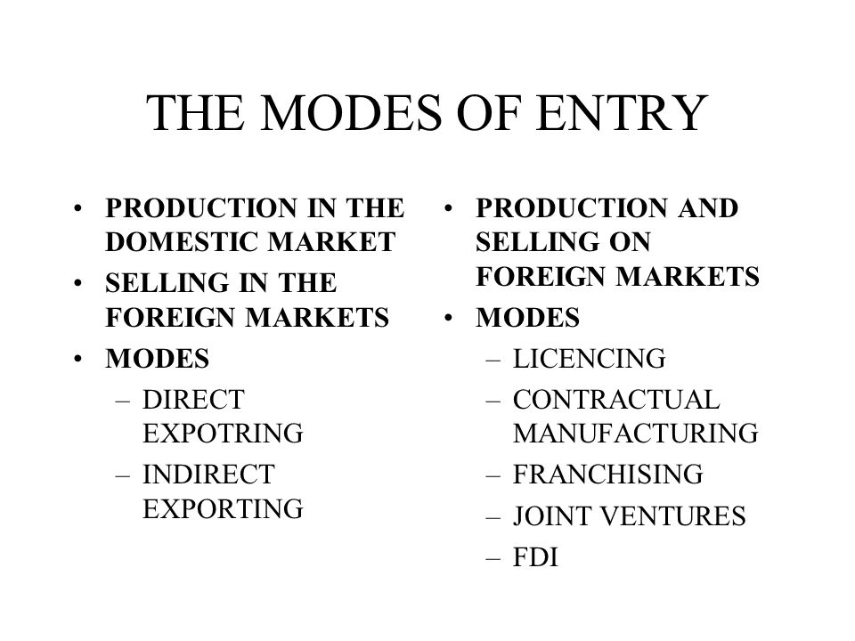 THE MODES OF ENTRY PRODUCTION IN THE DOMESTIC MARKET