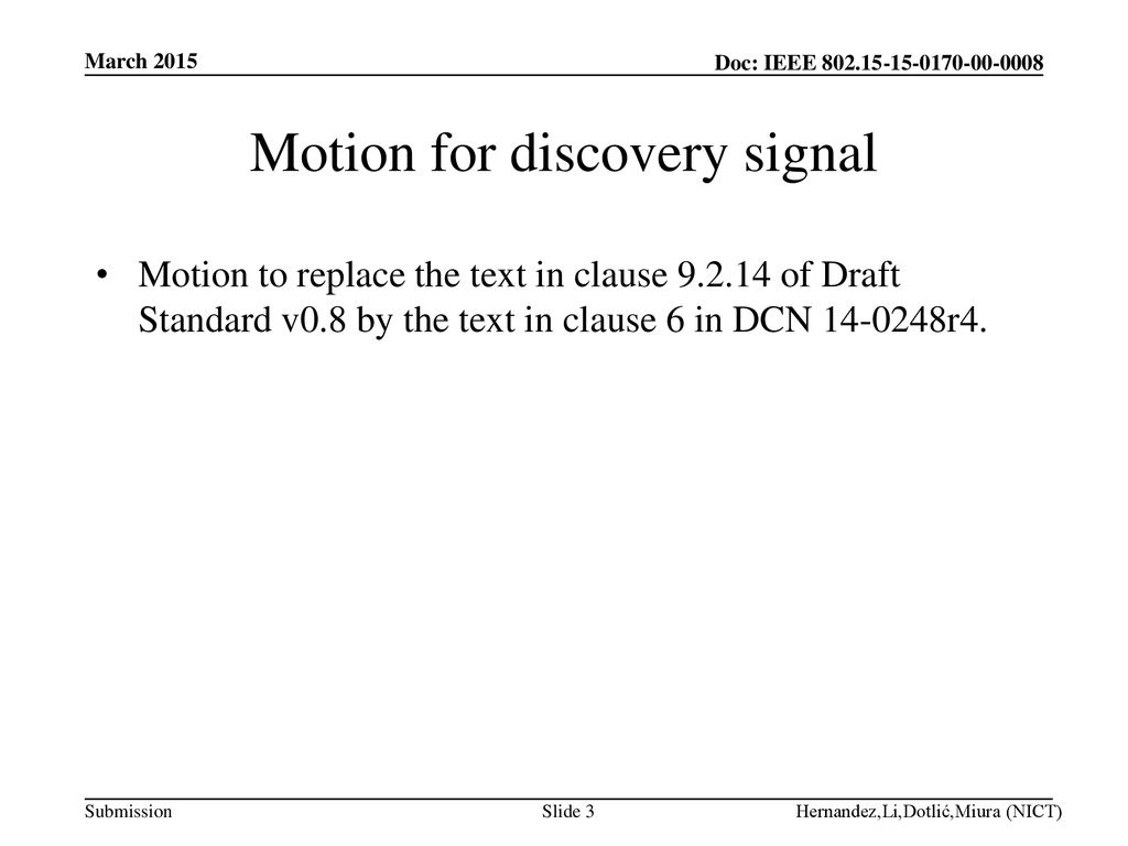 Motion for discovery signal