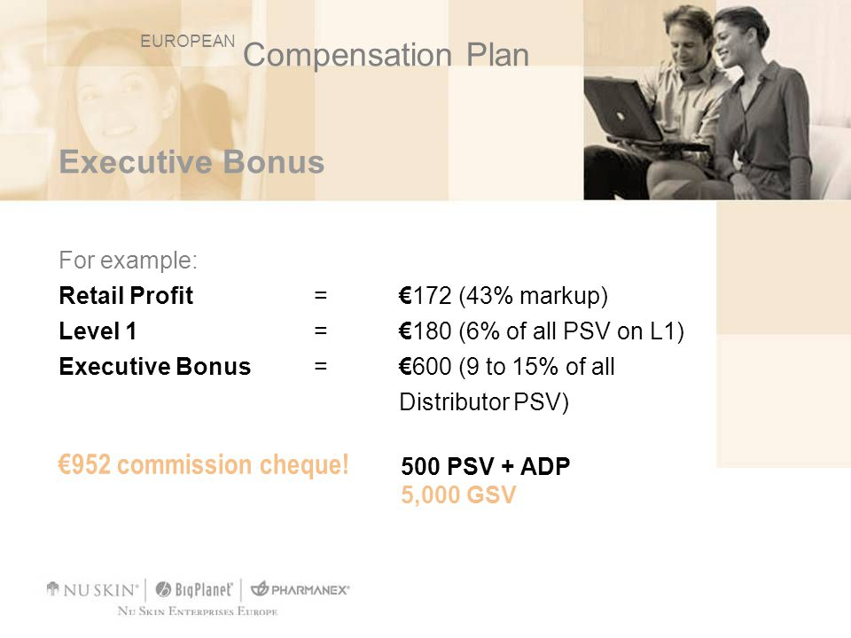 Compensation Plan Executive Bonus €952 commission cheque! For example: