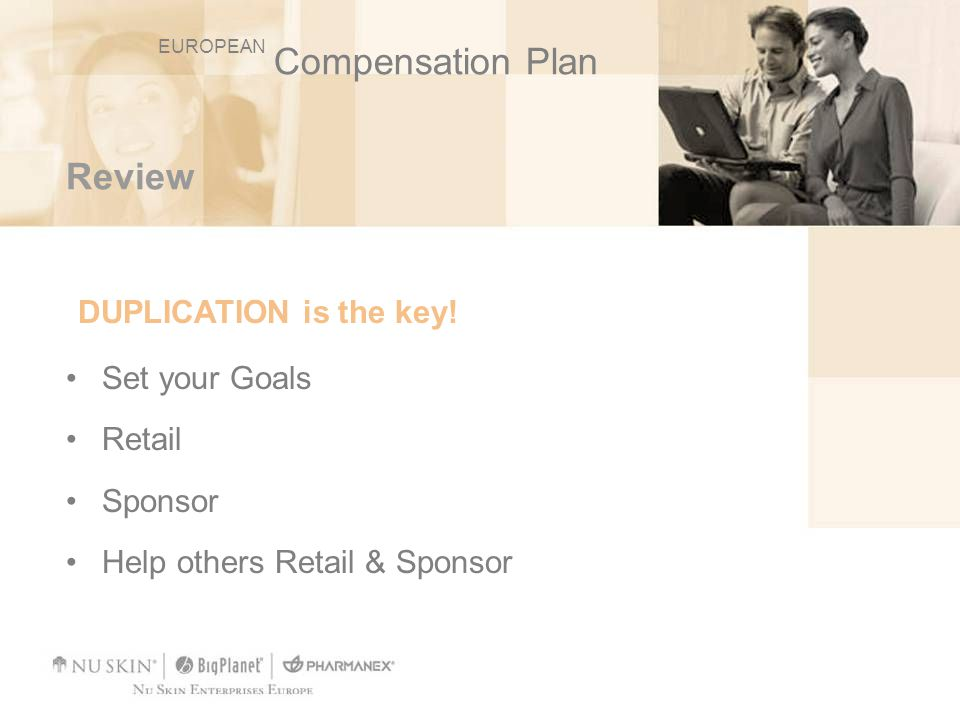 DUPLICATION is the key! Compensation Plan Review Set your Goals Retail