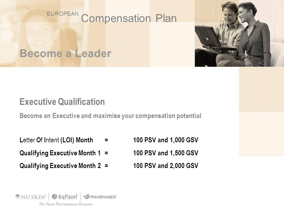 Compensation Plan Become a Leader Executive Qualification