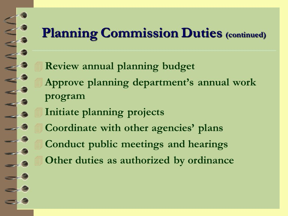 Planning Commission Duties (continued)