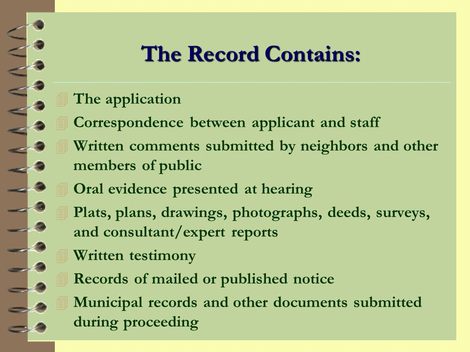 The Record Contains: The application