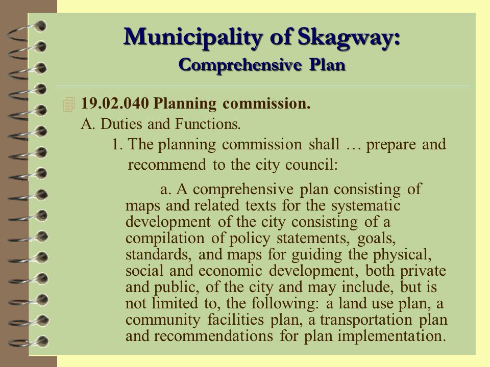 Municipality of Skagway: Comprehensive Plan