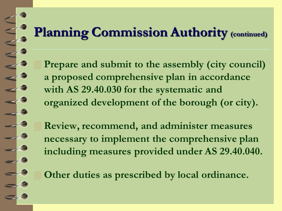 Planning Commission Authority (continued)