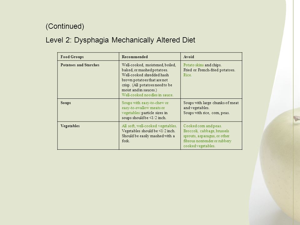 Level 2: Dysphagia Mechanically Altered Diet
