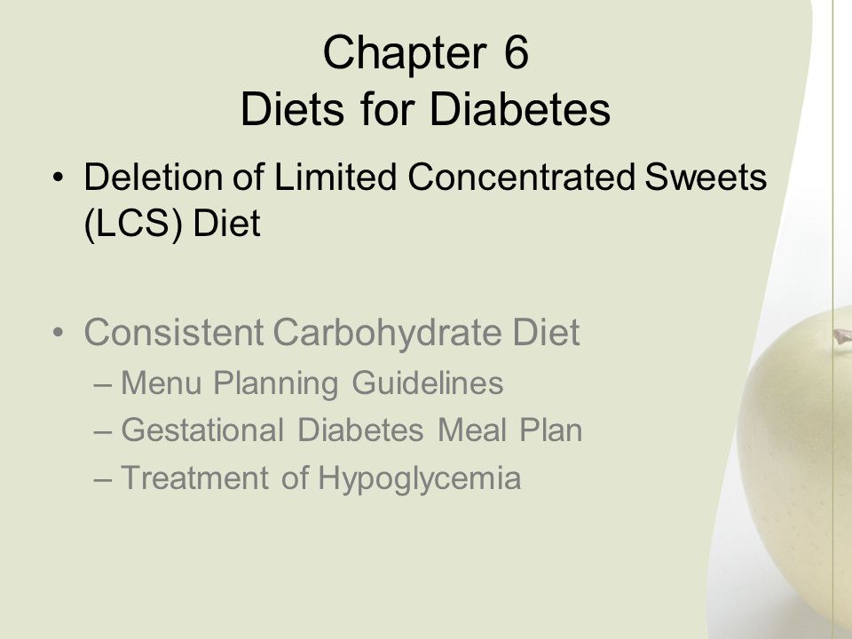 Chapter 6 Diets for Diabetes