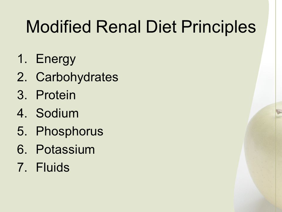Modified Renal Diet Principles