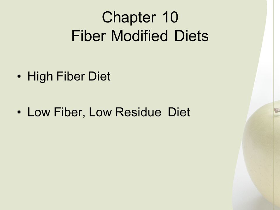 Chapter 10 Fiber Modified Diets